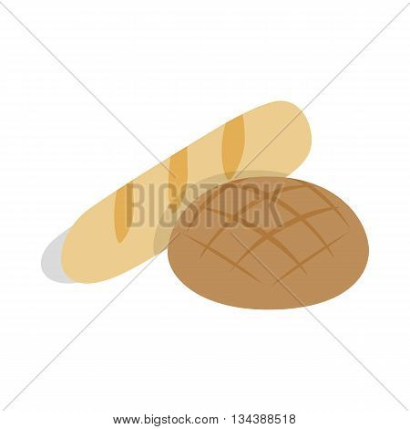 Rye bread and loaf icon in isometric 3d style on a white background