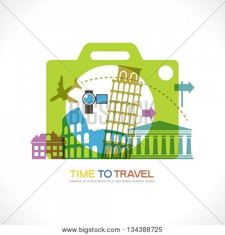 Travel and tourism background. Icon camera surrounded by the landmark and travel icons. Travel to World. Trip to World. Road trip. Tourism. Landmarks on the globe. File is saved in 10 EPS version.