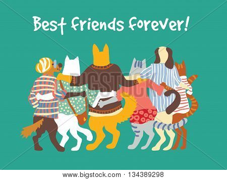 Cats and dogs pets group animal friends friendship hugs. Color vector illustration. EPS8