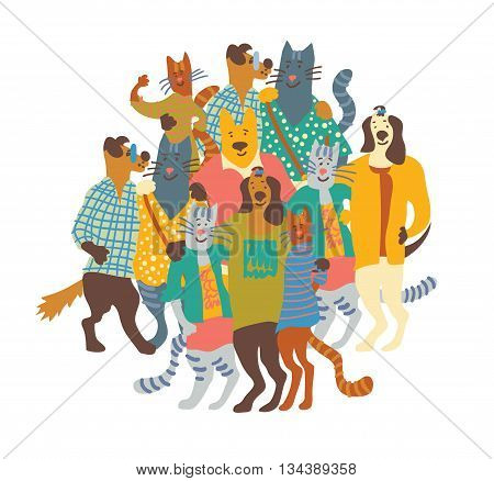 Hug happy pets dogs and cats group isolate white. Color vector illustration. EPS8