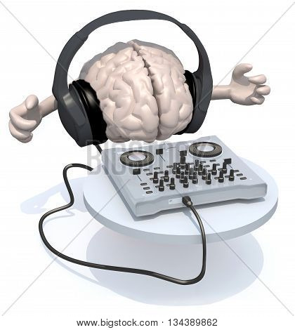 Brain With Dj Headset In Front Of Consolle