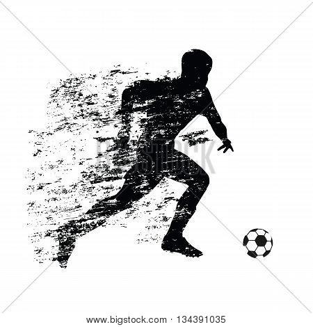 Abstract soccer player runs with ball. Grunge shadow behind a running athlete. Soccer player vector silhouette