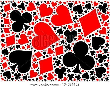 Poker cards mosaic background of four red and black suits - hearts, diamonds, clubs, spades. Flat vector illustration on white background.