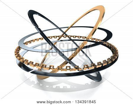 Ring set car on white background (done in 3d rendering)