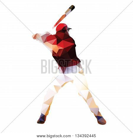 Abstract baseball player. Geometrical isolated silhouette. Baseball batter prepares to tee off