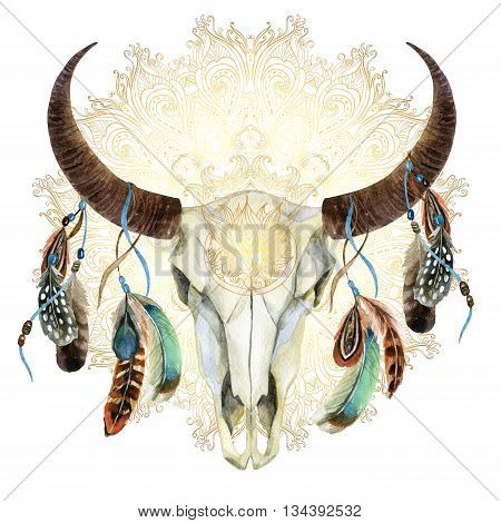 watercolor buffalo skull with feathers on golden mandala background. Animal skull in boho style hand painted illustration