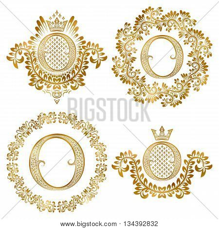 Golden letter O vintage monograms set. Heraldic monogram in coats of arms form letter O in floral round frame letter O in wreath heraldic monogram in floral decoration with crown.