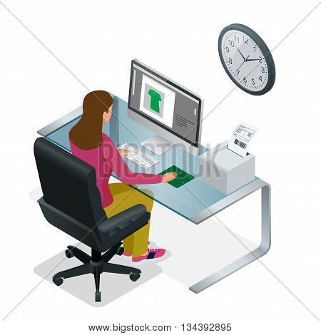 Time to work or Time management project plan schedule. Sand clock flat 3d vector isometric illustration. Business woman working background with laptop tabl.