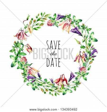 Watercolor meadow bell flowers wreath. Watercolor wild columbine and bell flowers arrangement on white background. Hand painted illustration for