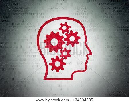 Learning concept: Painted red Head With Gears icon on Digital Data Paper background
