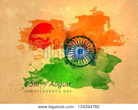 Creative illustration of Mahatma Gandhi Face and Ashoka Wheel on Saffron and Green abstract background, Vintage Poster, Banner or Flyer design for 15th of August, Indian Independence Day celebration.