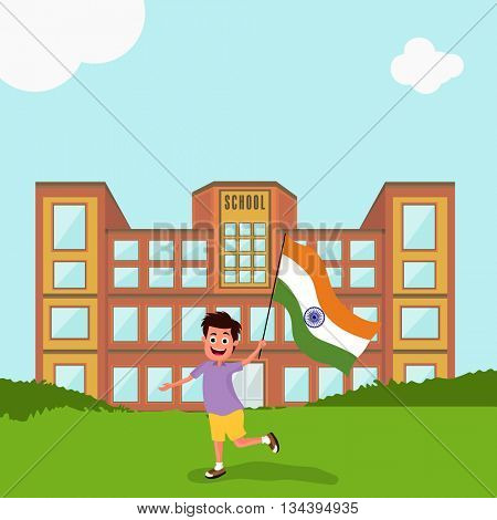 Cute little boy holding Indian Flag, standing outside the school building, Concept for Indian Independence Day and Republic Day celebration.