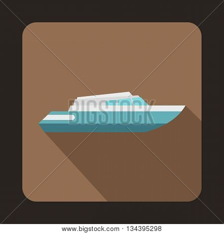Planing powerboat icon in flat style with long shadow. Sea transport symbol