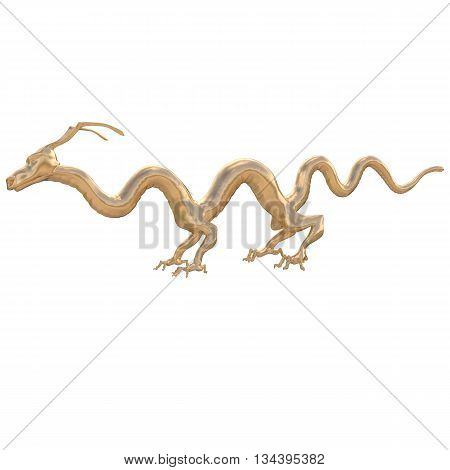 Golden Dragon smooth with unusual feet and slender fingers.Without glow on the white background