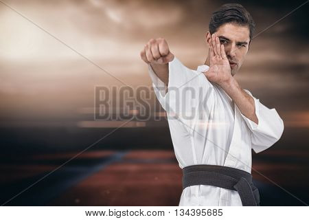 Fighter performing karate stance against view of sport ground outdoor