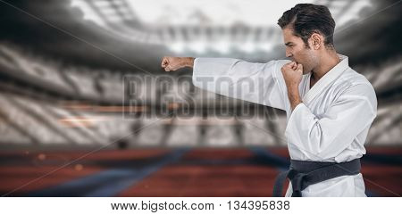 Fighter performing karate stance against digitally generated image of stadium