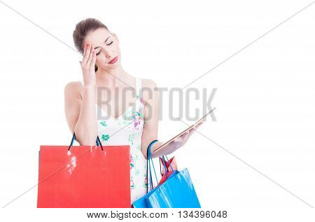 Pretty Lady Shopper Holding Tablet And Checking Online