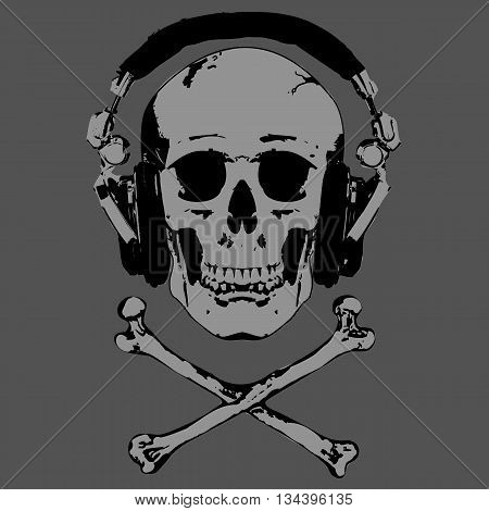 Vector image of human skull in stereo ear-phones