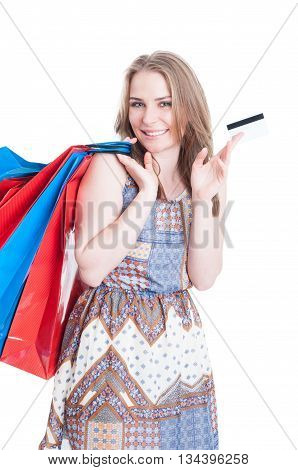 Joyful Young Caucasian Doing Shopping And Paying With Credit Card