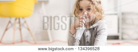 Child With Inhalation Mask