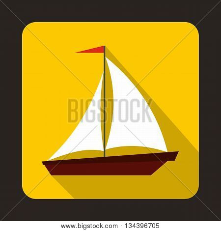 Boat with sails icon in flat style with long shadow. Sea transport symbol
