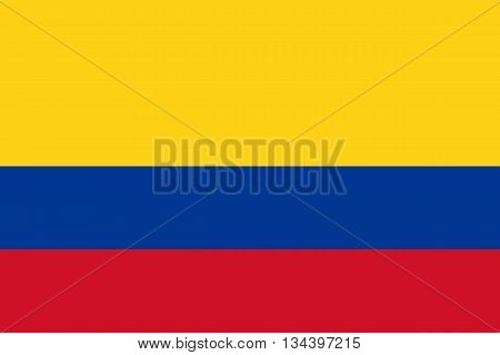 Official flag of Colombia country. Vector illustration.