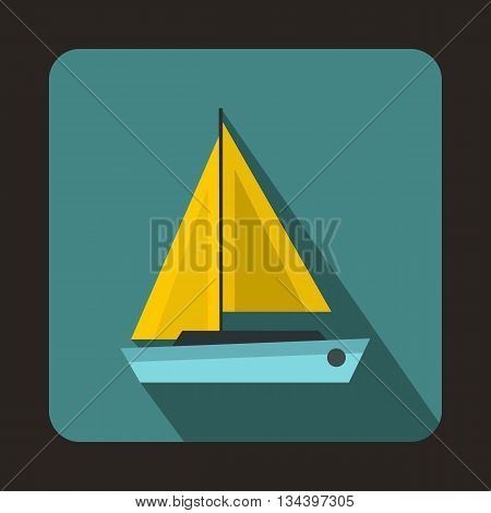 Small boat icon in flat style with long shadow. Sea transport symbol