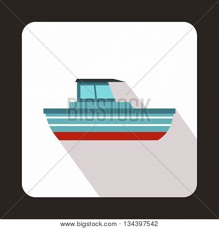 Motor boat icon in flat style with long shadow. Sea transport symbol