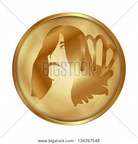 Vector illustration of zodiac sign Virgo on a gold disk in the form of a medallion. Isolated object can be used with any image or text.