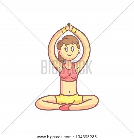 Girl In Meditation Yoga Pose Flat Outlined Pale Color Funny Drawing Isolated On White Background