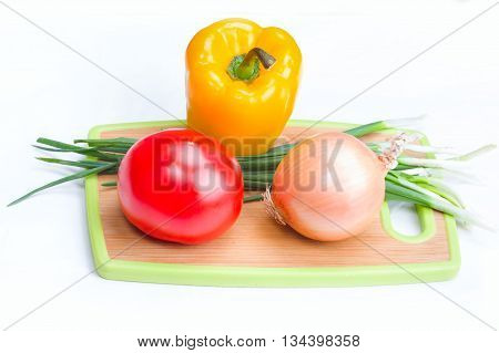 Onions Paprica Tomato Vegetables On  White Background