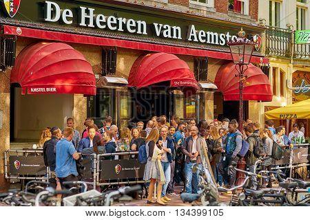 AMSTERDAM NETHERLANDS JUN 2016. De Heeren van Amstel Crowded Bar.