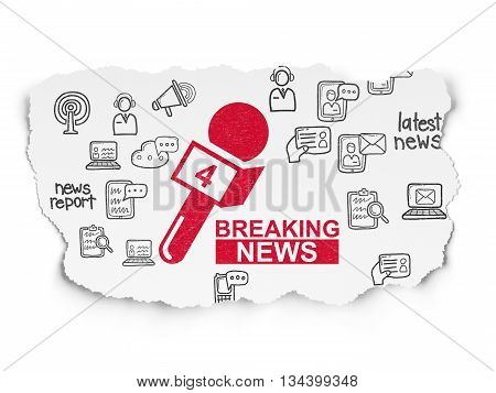 News concept: Painted red Breaking News And Microphone icon on Torn Paper background with  Hand Drawn News Icons