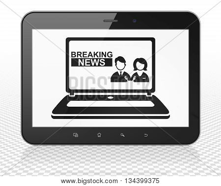 News concept: Tablet Pc Computer with black Breaking News On Laptop icon on display, 3D rendering