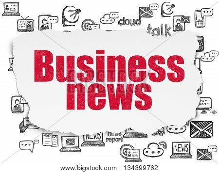 News concept: Painted red text Business News on Torn Paper background with  Hand Drawn News Icons