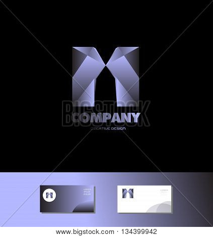 Vector company logo icon element template alphabet letter m blue metal bluish games media advertising