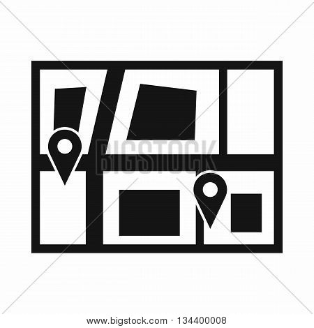 Geo location of taxi icon in simple style isolated on white background