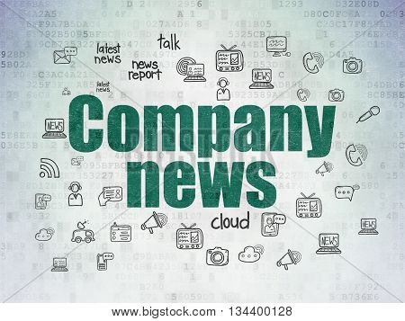 News concept: Painted green text Company News on Digital Data Paper background with  Hand Drawn News Icons