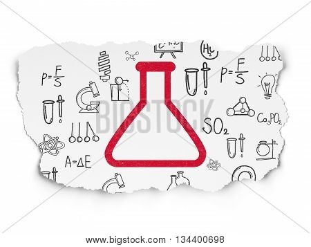 Science concept: Painted red Flask icon on Torn Paper background with  Hand Drawn Science Icons