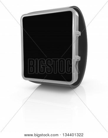 Stainless silver smart watch isolated on white. 3D illustration