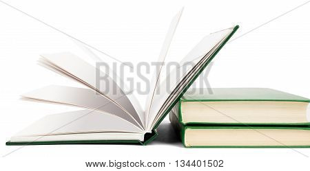 Open book, hardback books isolated on white background