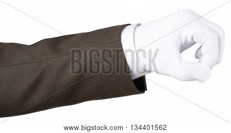 Human hand in white textile glove isolated on white background