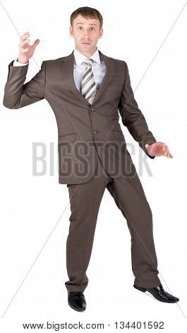 Businessman looking suprised. Isolated on white background.