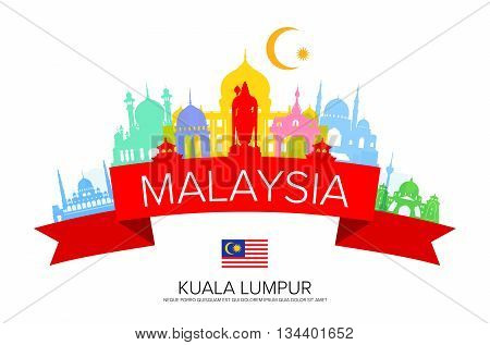 Malaysia Travel Landmarks and Flag. Vector and Illustration