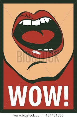 vector drawing of the human mouth screaming wow