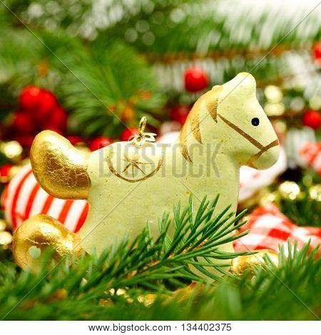 Vintage Christmas decoration retro horse on New Year background
