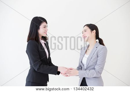 Group of success business people team shake hands in office with white background asian