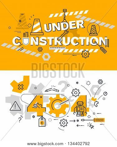 Set of modern vector illustration concepts of terms under construction and 404 . Thin line flat design background and banners for website and mobile website, easy to use and highly customizable.
