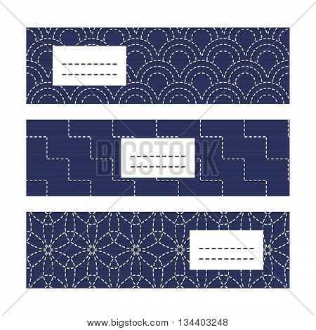 Banner Set with Japanese Embroidery Ornaments. Geometric sashiko template with copy space for text. Japanese quilting cards. Text frame. Japanese Antique fancywork theme.