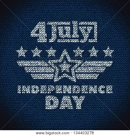 Star and stripes banner, Independence day United States of America. Imitation patch or stencil on the jeans fabric.